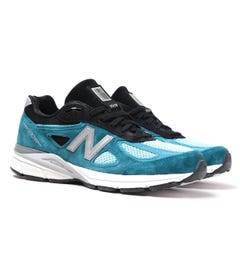 New Balance M990 Made in USA Open Blue & Black Detail Suede Trainers