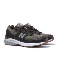New Balance 991.9 Made in England Olive Green & Brown Leather Trainers