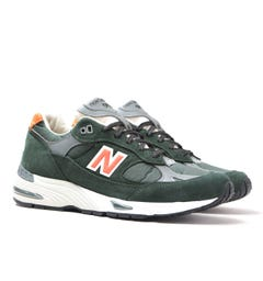 New Balance M991 Made In England Green & Orange Detail Suede Trainers