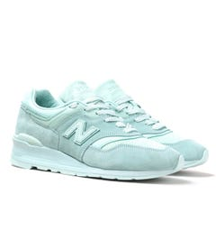 New Balance M997 Mint Green Suede Trainers