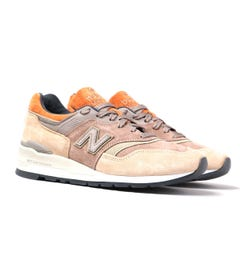 New Balance M997 Made in USA Beige With Orange Detail Suede Trainers