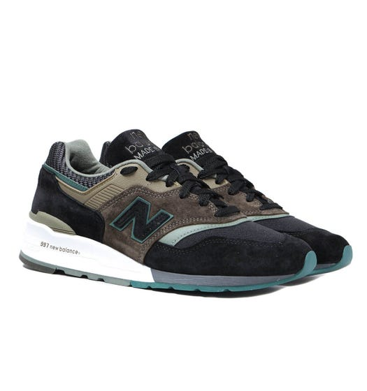 New Balance 997 Made in USA Black & Khaki Suede Trainers