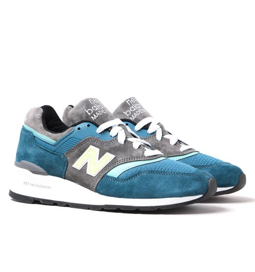 New Balance M997 Navy & Tonal Blue Suede Trainers