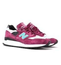 New Balance Made in USA 998 Burgundy & Grey Suede Trainers