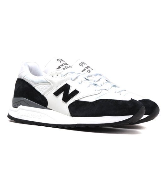 New Balance Made in USA 998 White & Black Suede Trainers
