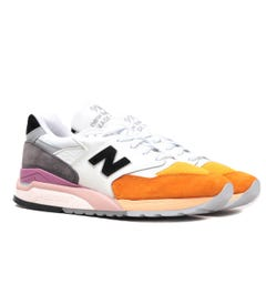 New Balance Made in USA 998 Orange, White & Grey Suede Trainers