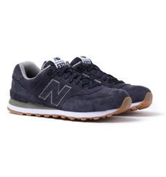 New Balance 574 Navy Suede Trainers