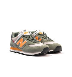 New Balance 574 Suede & Mesh Trainers - Green & Yellow