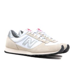 New Balance Made In England MNC Beige, White & Silver Suede Trainers