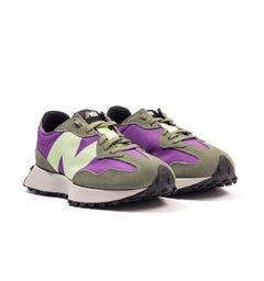 New Balance 327 Suede & Mesh Trainers - Sour Grape & Bleached Lime