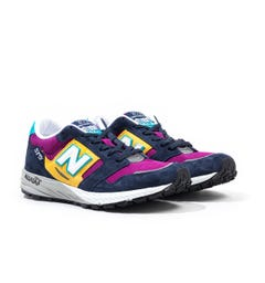 New Balance Trail 575 Made In England Blue with Purple & Yellow Suede & Mesh Trainers