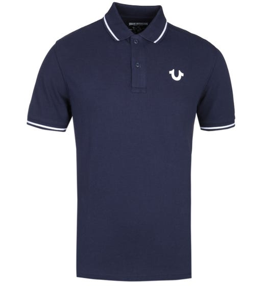 True Religion Crafted With Pride Navy Pique Polo Shirt