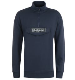 Napapijri B-Patch Dark Blue Quarter Zip Sweatshirt