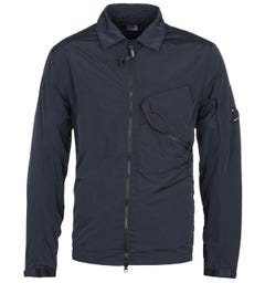 CP Company Chrome Garment Dyed Arm Lens Navy Overshirt