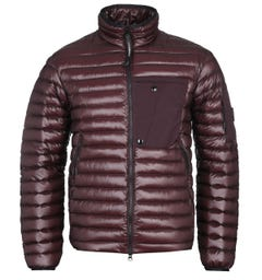CP Company DD Shell Zip-Through Burgundy Down Padded Jacket