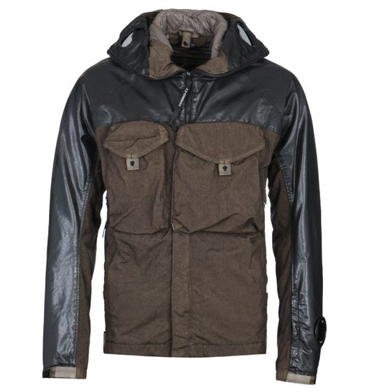 CP Company Coated Resin Panel Green Hooded Jacket