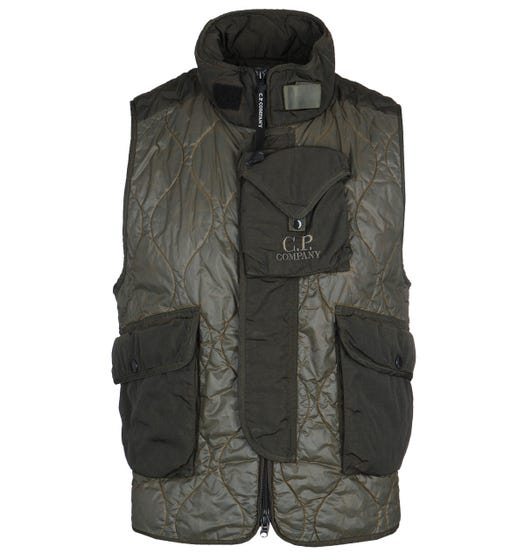 CP Company Ripstop Nylon Military Green Padded Gilet