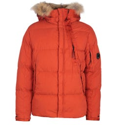 CP Company Fur Trim 50 Fili Hooded Orange Jacket