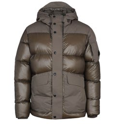 CP Company High-Shine Panel Military Green Padded Jacket
