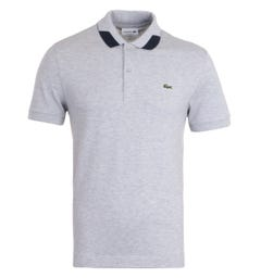 Lacoste Contrast Detailed Collar Grey Polo Shirt