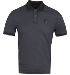 CP Company Short Sleeve Contrast Collar Black Polo Shirt