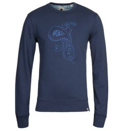 Pretty Green Navy Paisley Embroidery Sweatshirt