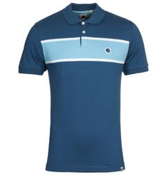Pretty Green Navy Engineered Chest Stripe Polo Shirt