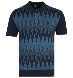 Pretty Green Navy Tonal Geo Wave Knitted Polo Shirt