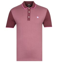 Pretty Green Burgundy Contrast Panel Knitted Polo Shirt