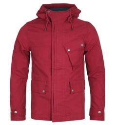 Pretty Green Contrast Lining Red Hooded Jacket