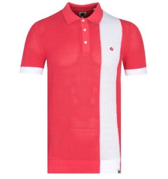 Pretty Green Contrasting Stripe Red Knitted Polo Shirt