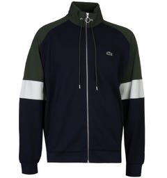 Lacoste Tri-Town Zip-Through Funnel Neck Navy Sweatshirt