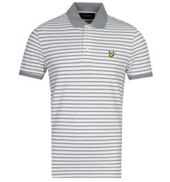Lyle & Scott Contrast Stripe Short Sleeve Buttercream & Grey Polo Shirt