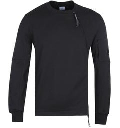 CP Company Zip Detail Black Crew Neck Sweatshirt