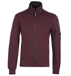 CP Company Zip-Through Arms Lens Burgundy Track Jacket