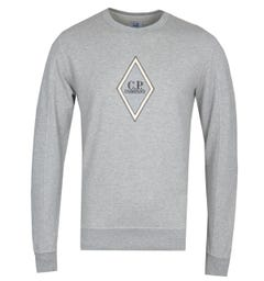 CP Company Diamond Logo Grey Marl Sweatshirt