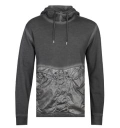 CP Company Garment Dyed Cotton Fleece Dark Grey Pullover Hoodie