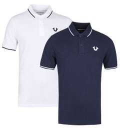 True Religion Two-Pack Crafted With Pride White & Navy Pique Polo Shirt