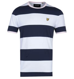 Lyle & Scott Wide Stripe Navy & Blue Ringer T-Shirt