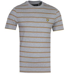 Lyle & Scott Thin Stripe Mid Grey Marl T-Shirt