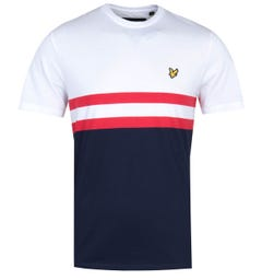 Lyle & Scott Yoke Stripe Navy & White T-Shirt