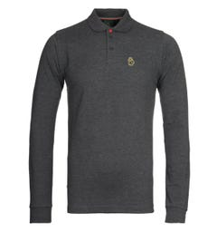 Luke 1977 Williams Charcoal Long Sleeve Pique Polo Shirt