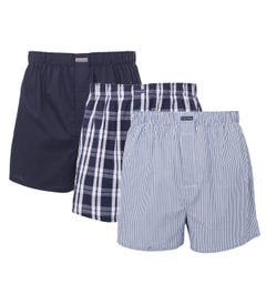 Calvin Klein 3 Pack Classic Fit Woven Boxers - Blue, Stripe & Check