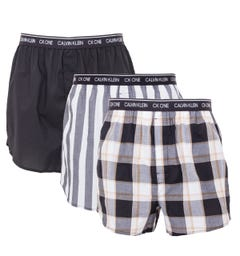 Calvin Klein 3 Pack Slim Fit Woven Boxers - Black, Stripe & Check