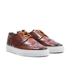 Grenson Sneaker 3 Leather Brogue Trainers - Tan
