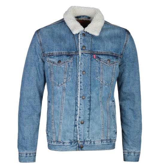 Levi's Type 3 Sherpa Blue Denim Trucker Jacket
