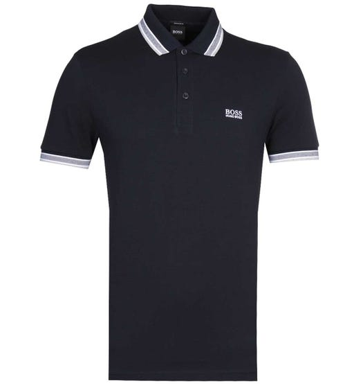 BOSS Paddy Regular Fit Tipped Black Pique Polo Shirt