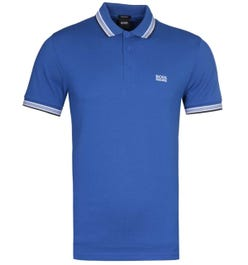 BOSS Paddy Regular Fit Tipped Royal Blue Pique Polo Shirt
