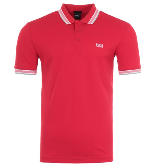 BOSS Paddy Tipped Pique Regular Fit Polo Shirt - Red