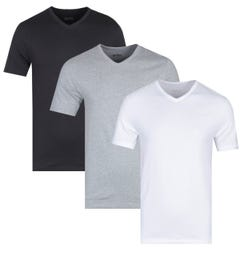 BOSS Bodywear Three Pack V-Neck Black, White & Grey Regular Fit T-Shirts
